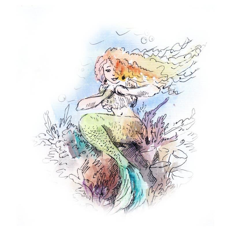 Acquerello della sirena illustrazione di stock
