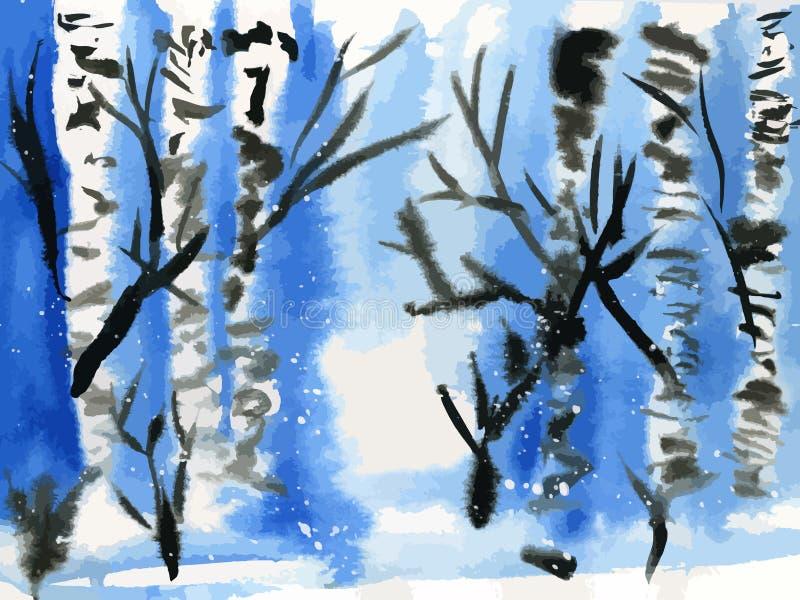 Acquerello delle betulle di inverno illustrazione vettoriale