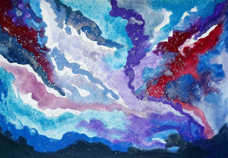Acquerello delle nuvole del cielo immagine stock libera da diritti