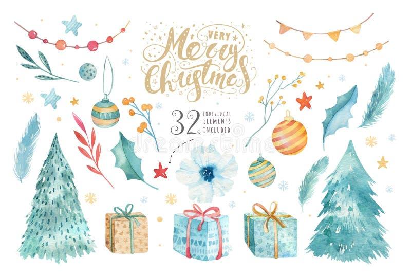 Acquerello di Buon Natale messo con gli elementi floreali Raccolta del manifesto dell'iscrizione del buon anno Fiori di inverno,  royalty illustrazione gratis
