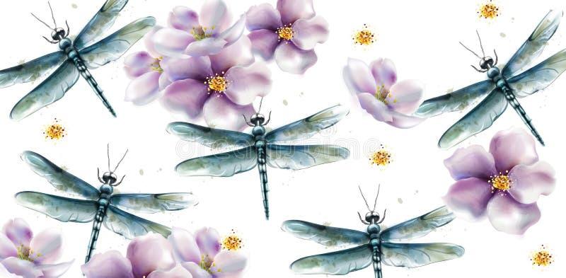 Acquerello di vettore del modello della mosca del drago Progettazioni di struttura di estate della primavera illustrazione di stock
