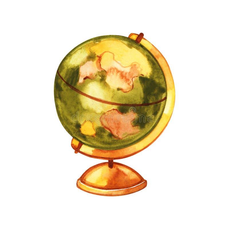 Acquerello dipinto terra del globo Illustrazione della mano Illustrazione dell'acquerello illustrazione vettoriale