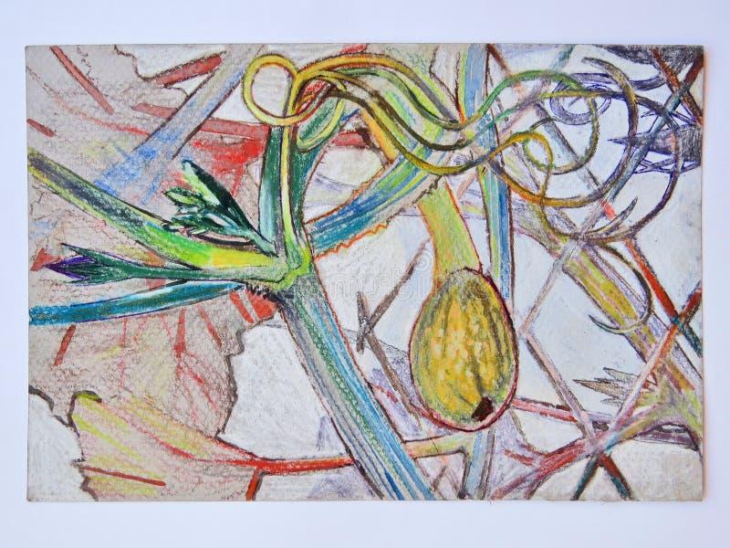 Acquerello e disegno a matita della pianta della zucca con la piccole zucca e foglie verdi illustrazione vettoriale
