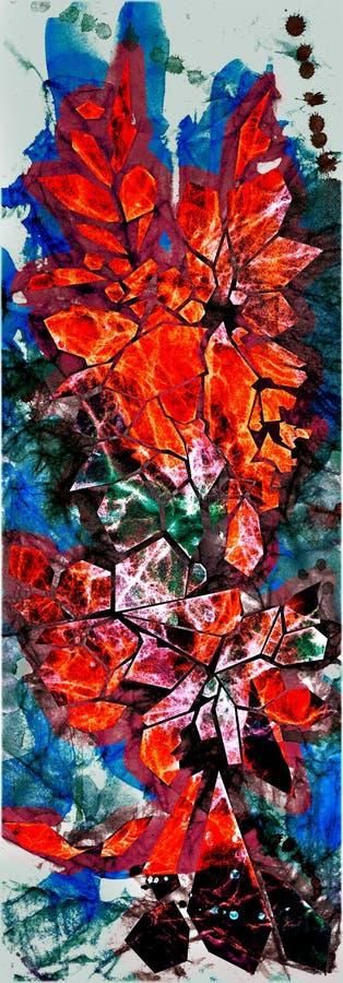 Acquerello ed uccello e fiore di cristallo del grafico fotografia stock libera da diritti