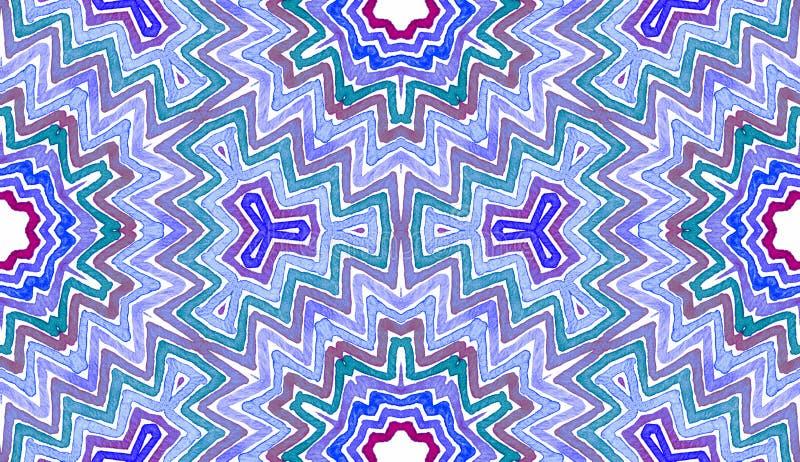 Acquerello geometrico blu Reticolo senza giunte sveglio fotografia stock