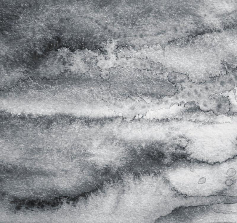 Acquerello grigio astratto su struttura di carta come fondo Nel blac immagini stock