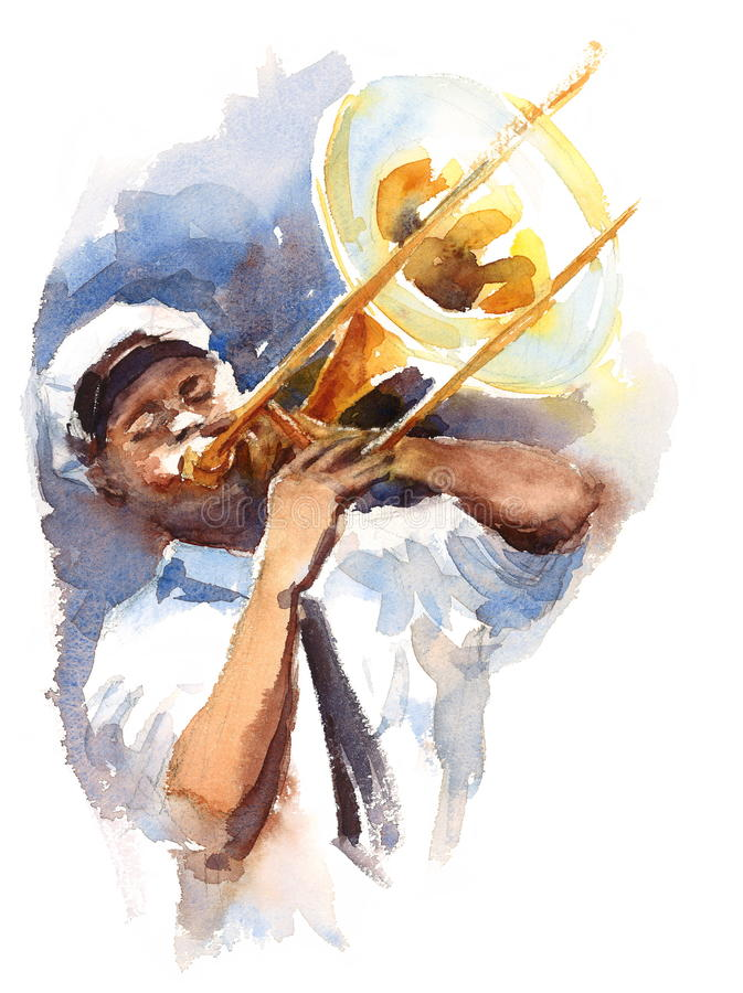 Acquerello Jazz Music Illustration dipinta a mano del giocatore di trombone illustrazione vettoriale