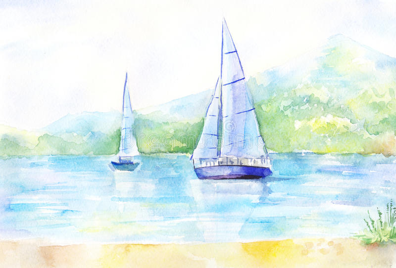 Acquerello leggero del paesaggio Immagine con una barca a vela sul fiume illustrazione di stock