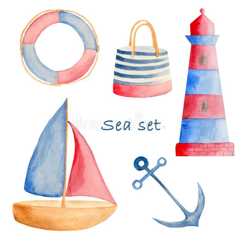 Acquerello messo con gli elementi rosso-blu del mare illustrazione vettoriale