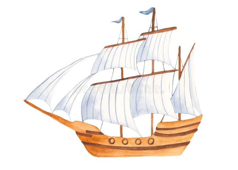 Acquerello messo con le navi ed il sottomarino svegli del fumetto dei bambini illustrazione di stock