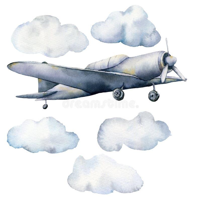 Acquerello messo con le nuvole e l'aeroplano Illustrazione dipinta a mano del cielo con gli aerei isolati su fondo bianco per illustrazione di stock