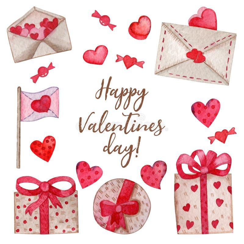 Acquerello messo per il San Valentino royalty illustrazione gratis