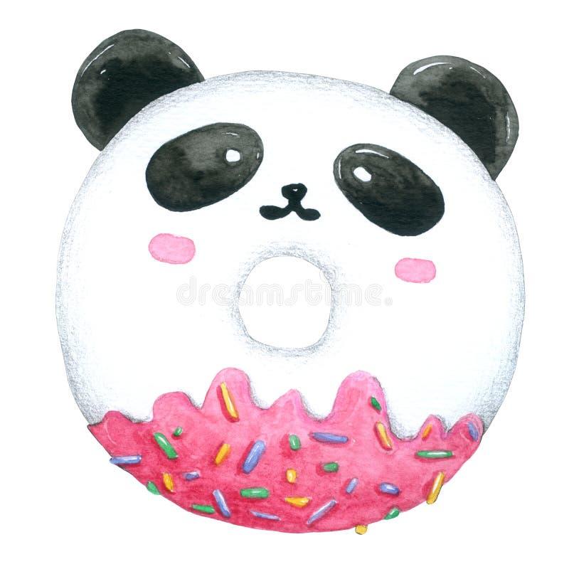 Acquerello Panda Donuts su fondo bianco con il ritaglio-percorso per decorativo e progettazione, modello, imballante illustrazione vettoriale