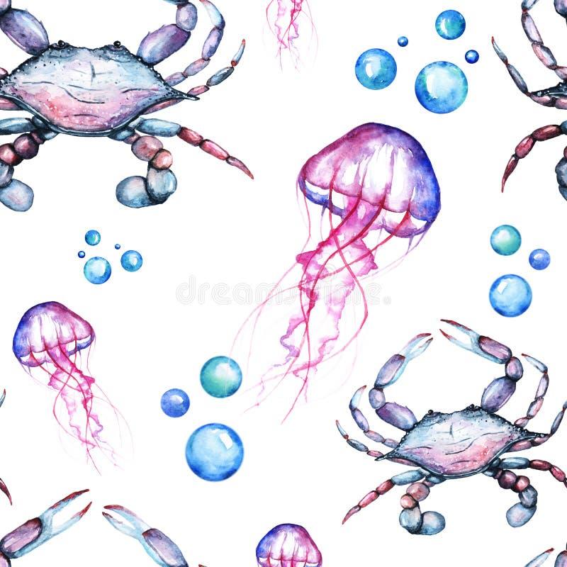 Acquerello Paterrn luminoso con re blu Crabs e medusa e bolle illustrazione vettoriale