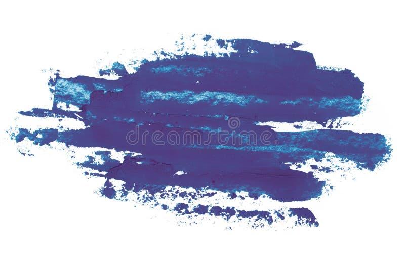 Acquerello, pittura di gouache Le macchie astratte blu schizzano spruzza con struttura approssimativa fotografie stock
