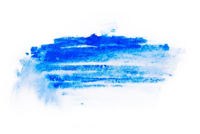 Acquerello, pittura di gouache Le macchie astratte blu schizzano spruzza con struttura approssimativa immagine stock