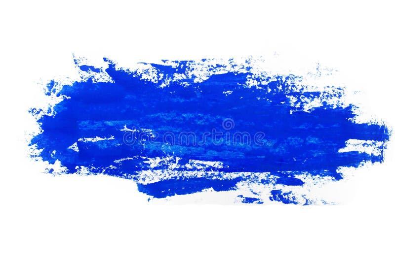 Acquerello, pittura di gouache Le macchie astratte blu schizzano spruzza con struttura approssimativa fotografia stock