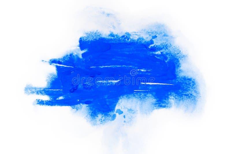 Acquerello, pittura di gouache Le macchie astratte blu schizzano spruzza con struttura approssimativa fotografia stock libera da diritti