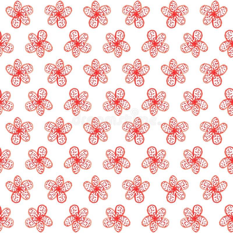 Acquerello senza cuciture semplice del modello del fiore rosso, illustrazione del fiore illustrazione vettoriale