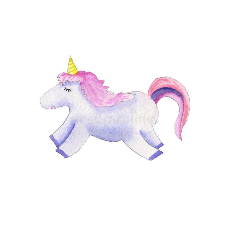 Acquerello sveglio dell'unicorno royalty illustrazione gratis