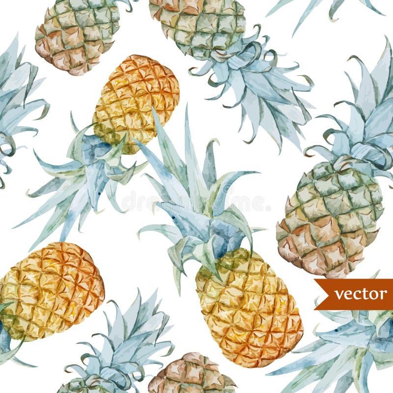 Acquerello, tropicale, ananas, esotico, modello royalty illustrazione gratis