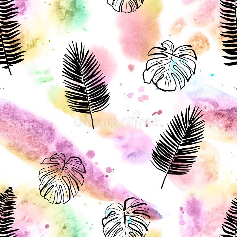 Acquerello tropicale e modello senza cuciture dipinto a mano delle foglie immagini stock libere da diritti