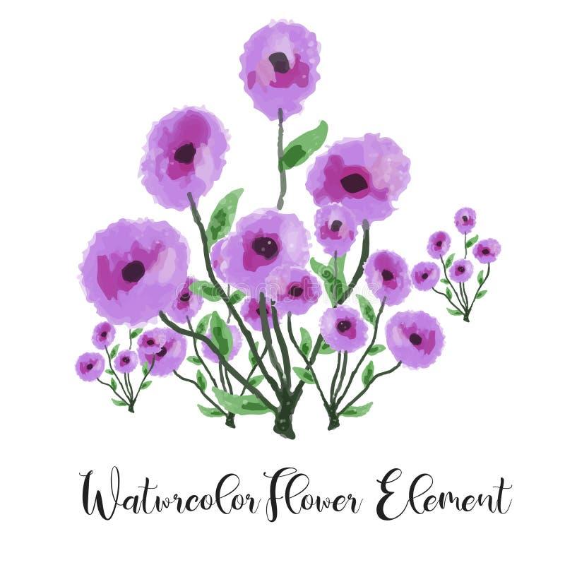 Acquerello viola del fiore Elemento floreale dell'acquerello con la bella gradazione Illustrazione floreale dell'acquerello della royalty illustrazione gratis