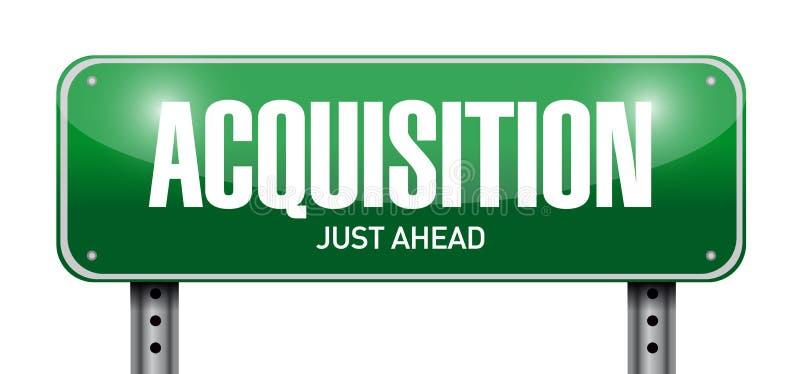 Acquisition road sign illustration design. Over a white background stock illustration