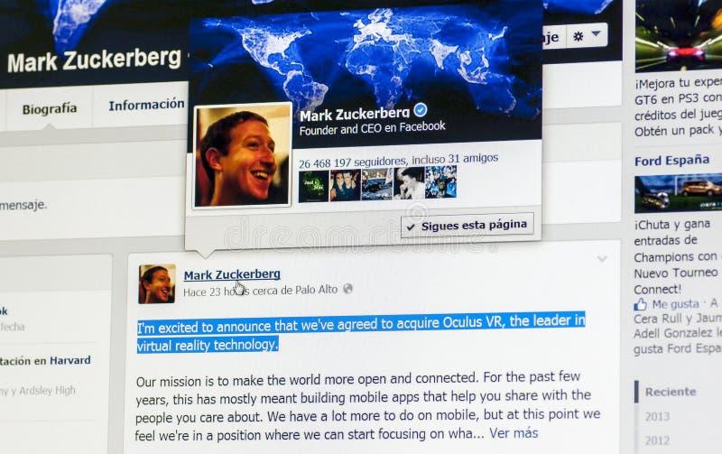 Acquisizione di Mark Zuckerberg Oculus Rift fotografia stock