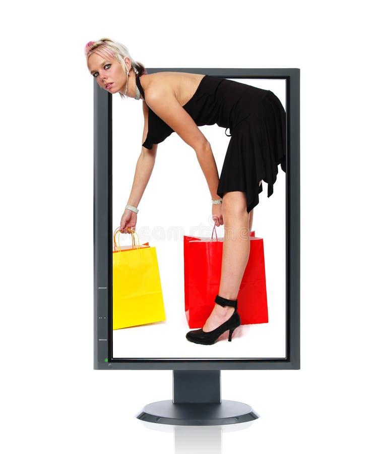 Acquistando in linea fotografia stock