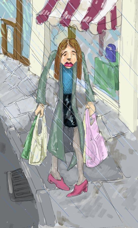 Acquistando nella pioggia illustrazione di stock