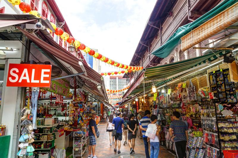 Acquistando a Singapore Chinatown fotografie stock
