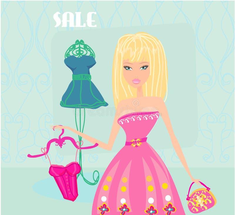 Acquisto alla moda della donna royalty illustrazione gratis