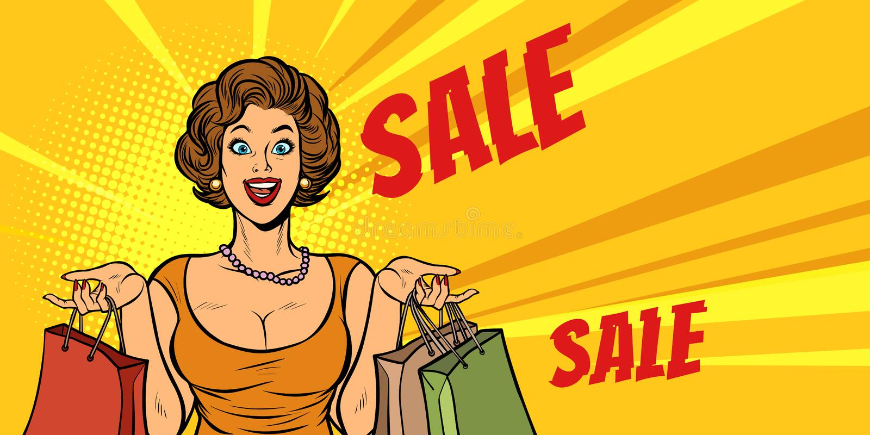 Acquisto allegro della donna sulla vendita illustrazione di stock