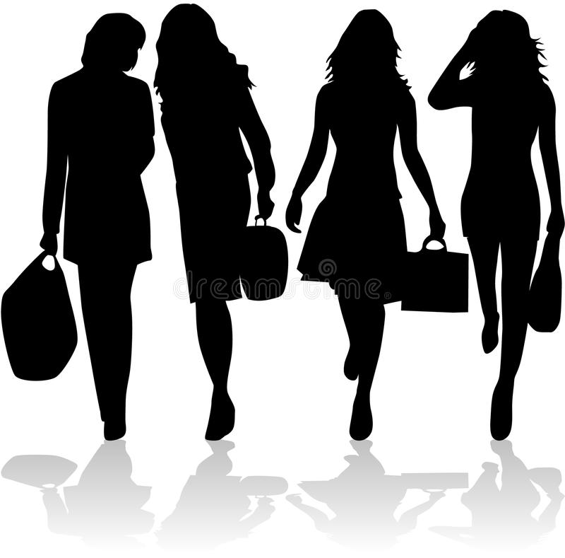 Acquisto andante delle donne alla moda royalty illustrazione gratis