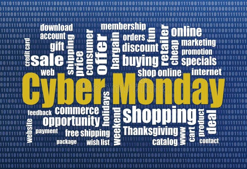 Acquisto cyber di lunedì illustrazione di stock