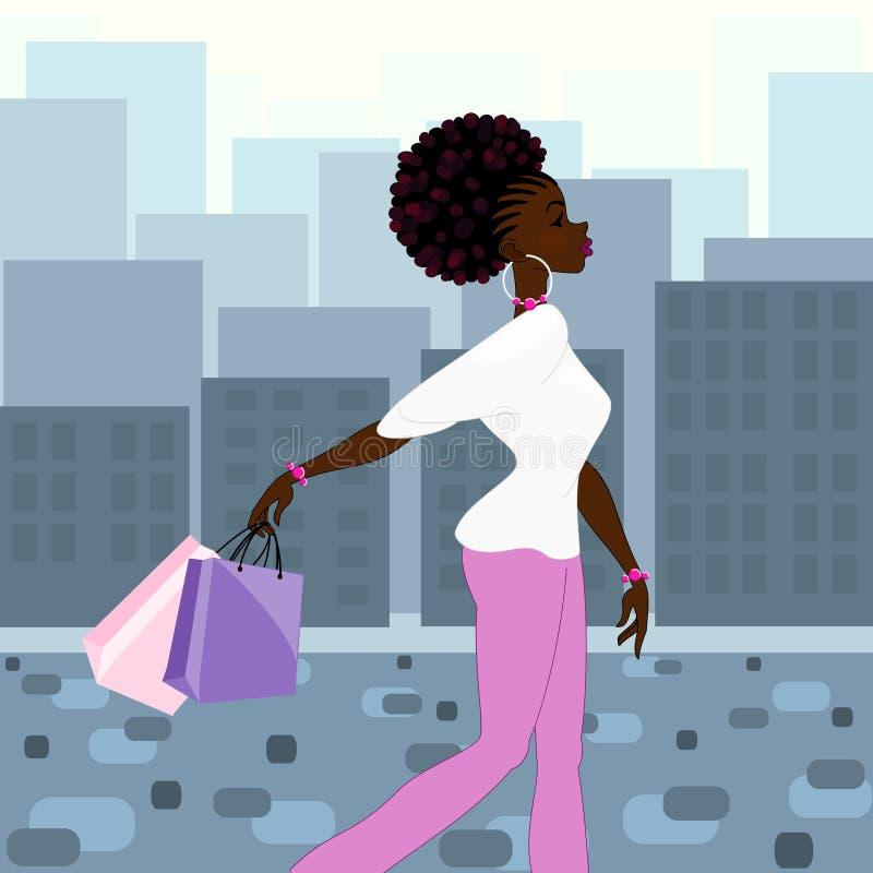 Acquisto dalla carnagione scura della donna nella città illustrazione di stock
