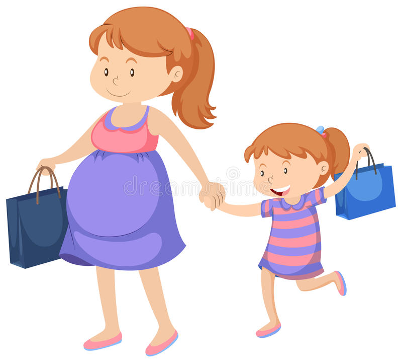 Acquisto della bambina e della donna incinta illustrazione di stock