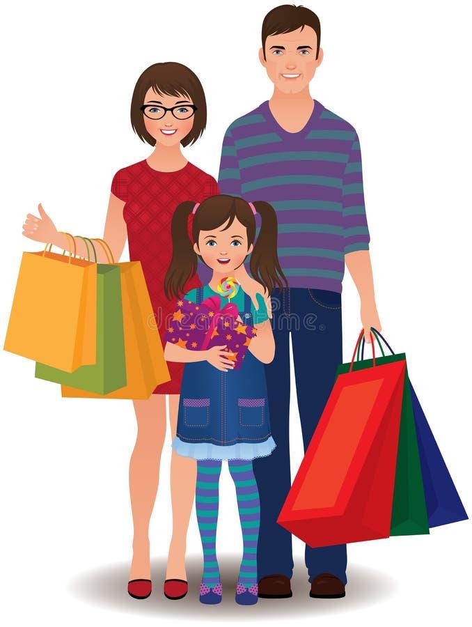 Acquisto della famiglia illustrazione di stock