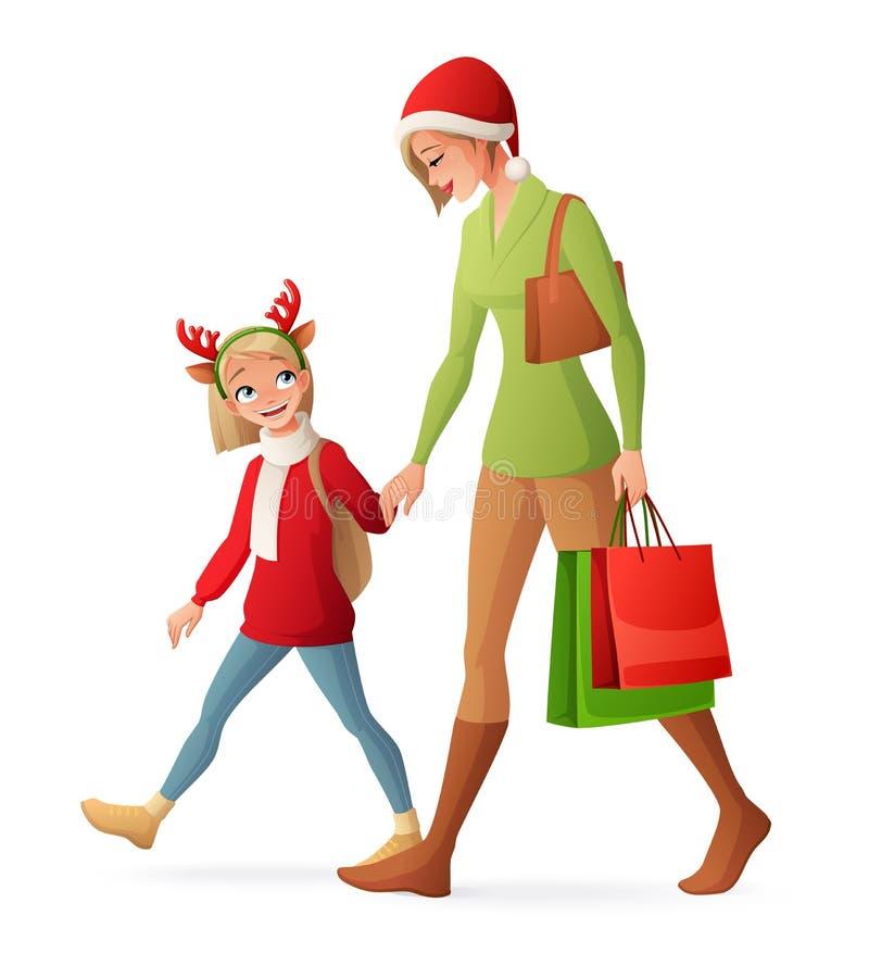 Acquisto della famiglia di Natale Illustrazione isolata di vettore illustrazione vettoriale