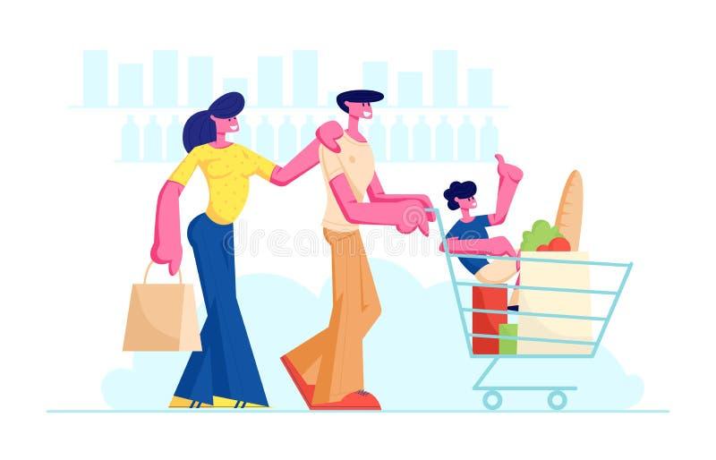 Acquisto della famiglia nel supermercato con il carretto del prodotto Padre Pushing Trolley con l'interno del figlio e degli acqu illustrazione vettoriale