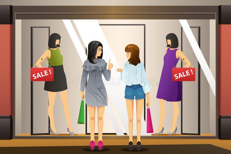 Acquisto della finestra delle donne davanti ad un negozio di vestiti illustrazione vettoriale