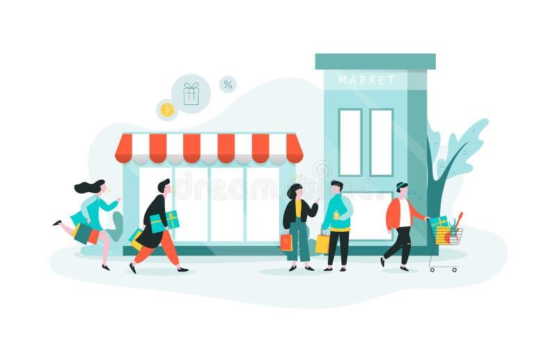 Acquisto della gente nel centro commerciale Negozio nella città, grande deposito royalty illustrazione gratis