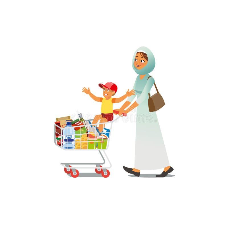 Acquisto della madre con il vettore piccolo del fumetto del figlio illustrazione vettoriale
