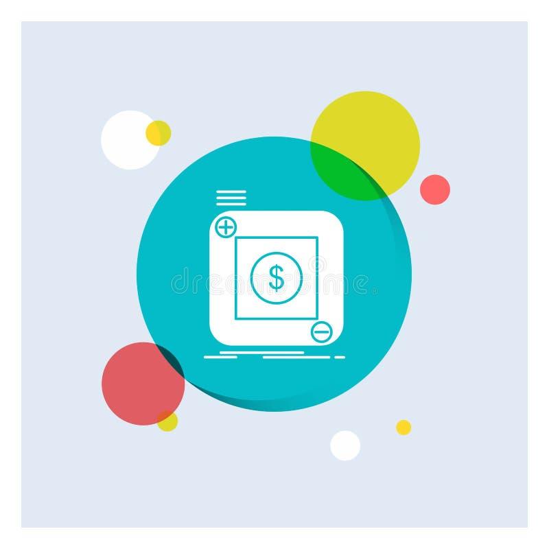 acquisto, deposito, app, applicazione, fondo variopinto del cerchio dell'icona bianca mobile di glifo illustrazione di stock