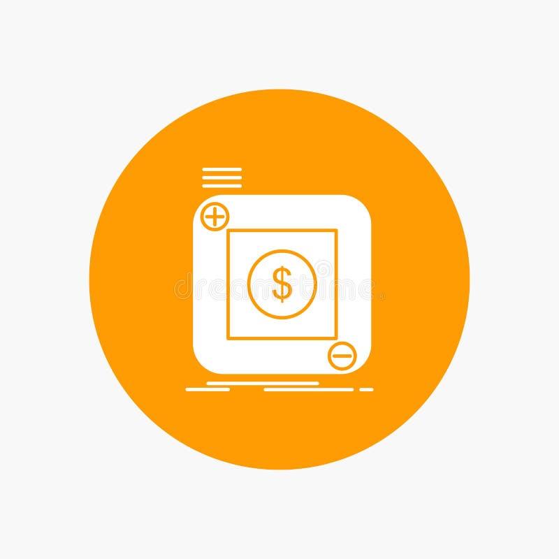 acquisto, deposito, app, applicazione, icona bianca mobile di glifo nel cerchio Illustrazione del bottone di vettore royalty illustrazione gratis