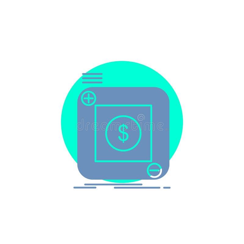 acquisto, deposito, app, applicazione, icona mobile di glifo illustrazione vettoriale