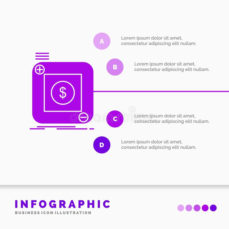 acquisto, deposito, app, domanda, modello mobile di Infographics di sito Web e presentazione Stile infographic dell'icona porpora royalty illustrazione gratis