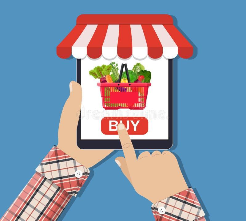 Acquisto di alimento online, smartphone illustrazione di stock