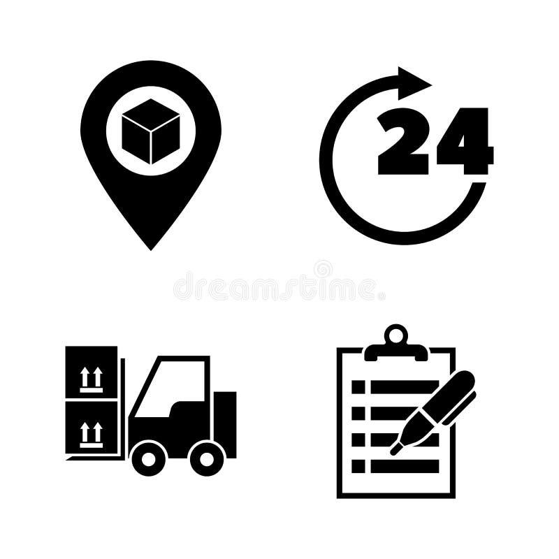 Acquisto di commercio elettronico Icone relative semplici di vettore illustrazione di stock